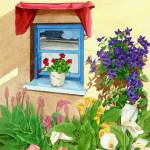 """window with blue flowers"" by patriziadonaera"