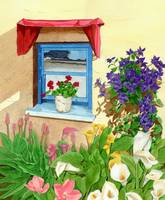 window with blue flowers