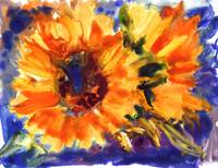 sunflowers watercolor on yupo