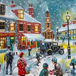 """Snowball fight oil painting"" by GORDONBRUCEART"
