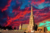 Scarlet Sky with Cathedral