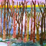 """mixed media abstract tree art, Fall Purple"" by schulmanart"