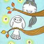 """Owl and Kitty Cat in Autumn Tree"" by zoe"
