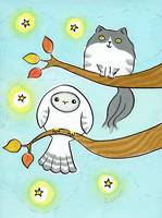 Owl and Kitty Cat in Autumn Tree