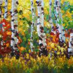"""Colorful Impressionist Painting of Aspens in Fall"" by kevinmccain"