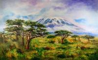 Mount Kilimanjaro Tanzania.  Oil on Canvas Art by