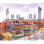 """Busch Stadium, World Series Game 6 Postponed"" by michaelandersonartprints"