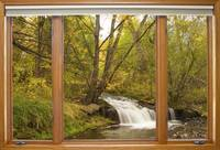 Creek Waterfall Forest Window View