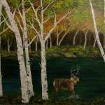 """Deer Frolicking Near the Birch Trees"" by lisacripps"