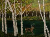 Deer Frolicking Near the Birch Trees