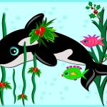 """Christmas Orca with Fish Friends"" by theblueplanet"