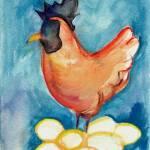 """""""Fresh Eggs - Hen Sitting on Her Eggs"""" by artchiz"""