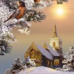"""""""Robins and Church on a Wintery Day"""" by Unique_designs"""