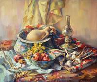 Armenian still life with a lamp.