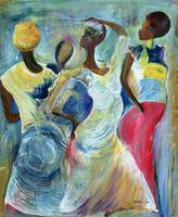 Sister Act, (acrylic on canvas) by Ikahl Beckford