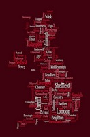 Great Britain UK City Text Map