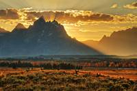 Grand Teton Sunset with western buck rail fence