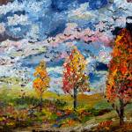 """Autumn Storm Fall Colors Oil Painting by Ginette"" by GinetteCallaway"