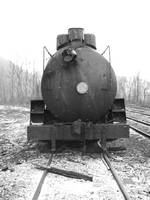 Abandoned Steam Engine in Winter