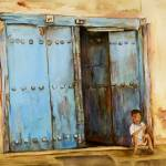 """Child sitting in Zanzibar Doorway"" by shernasser"