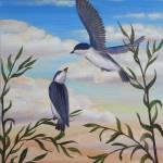 """Birds in the sunset sky"" by NewArtLine"