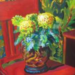 """Chrysanthemums with Red Chair"" by clydesemler"