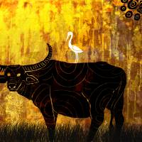 Buffalo and the crane Art Prints & Posters by nirupam borboruah