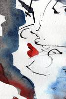 Kiss Me Abstract Watercolor and Ink by Ginette