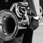 """Marching Band Horn Black and White"" by lightningman"