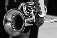 Marching Band Horn Black and White