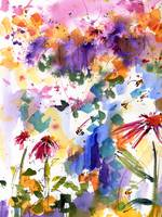 Flowers and Bees Summer Excitement Watercolor Gine
