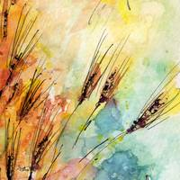 Rye Watercolor and Ink Modern Square Painting