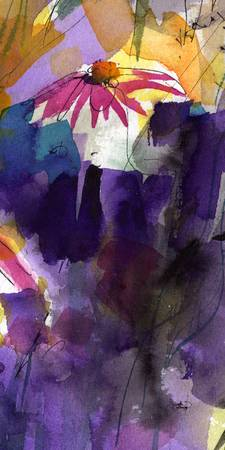 Macro Purple Coneflower Abstract Watercolor Ginett