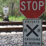 """TOILET Railroad Crossing - Copy"" by barbsummering"