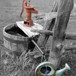 """Water  Pump Station B & W with a Touch Of Color -"" by barbsummering"