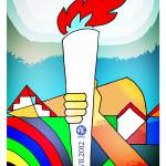 """2012 Torch Relay in Milton Keynes poster art"" by mkfive"