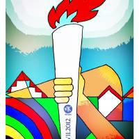 2012 Torch Relay in Milton Keynes poster art Art Prints & Posters by Robert Rusin