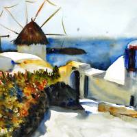Mykonos, Greek Island Landscape Painting Art Prints & Posters by Miriam Schulman