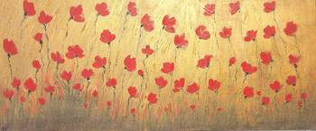 rich red poppy field