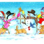 """Snowman Bunny Border"" by wendyedelson"
