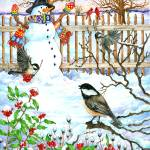 """Chickadee Snowman"" by wendyedelson"