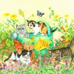 """Kittens In The Garden"" by wendyedelson"