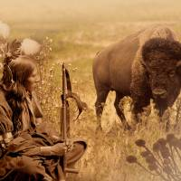 Native American Sioux and Bison by I.M. Spadecaller