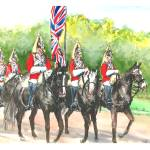"""3 Horseguards with flag"" by sandrafrancis"
