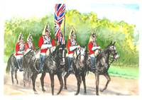3 Horseguards with flag