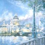 """St Pauls Cathedral and th River Thames. London"" by sandrafrancis"