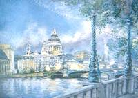 St Pauls Cathedral and th River Thames. London
