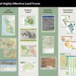"""6 Maps of Effective Land Trusts poster"" by greeninfo"
