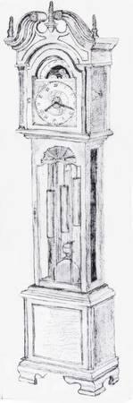 grandfather clock drawing. grandfather clock drawing