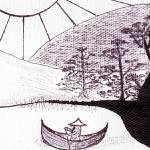 """Zen Sumi Asian Lake Fisherman Black Ink"" by Ricardos"